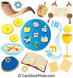 icônes, symboles, attachez art, juif