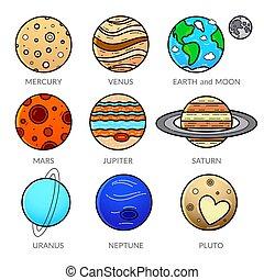 icônes, système, illustration, planète, vecteur, solaire