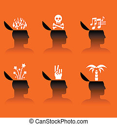 icônes, tête, divers, objets, humain