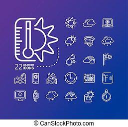 icônes, temps, sur, autour de, soleil, arrière-plan violet, icône, thermomètre, ensemble