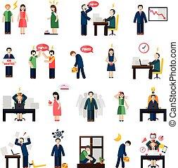 icônes, tension, dépression, santé, ensemble, mental
