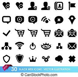 icônes toile, 30, isolé, noir, blanc