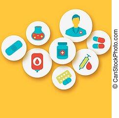 icônes, toile, coloré, mettez stylique, monde médical