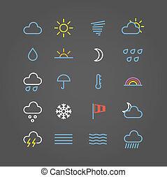 icônes toile, couleur, collection, prévision, temps