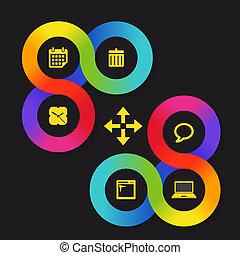 icônes toile, couleur, gabarit, interface, cercle