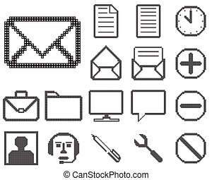 icônes, toile, ensemble, design.