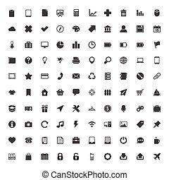 icônes toile, ensemble, grand
