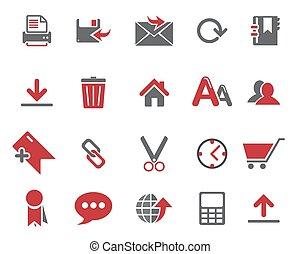 icônes toile, gris, rouge foncé, vecteur, stockage