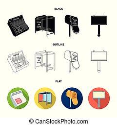 icônes, toile, journaux, noir, contour, ensemble, boîte, collection, arrêt, plat, publicité, autobus, courrier, billboard.