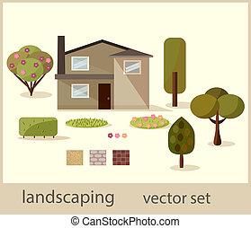 icônes, toile, landscaping, ensemble, vecteur