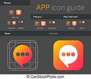 icônes toile, mobile, bouton, directives, ios, vecteur, ui, gabarit, conception, app