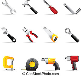 icônes toile, -, outils, main