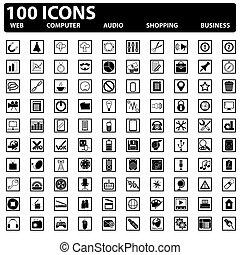 icônes, toile, set., vecteur, 100