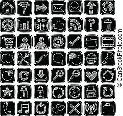 icônes toile, signes, sketchy, griffonnage, ensemble