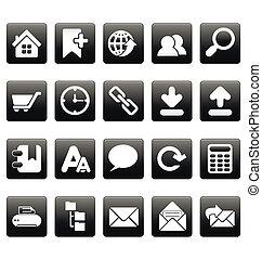 icônes toile, site, noir, blanc, carrés