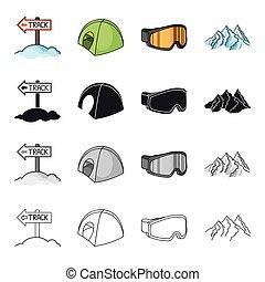 icônes, toile, sport, tourisme, style., récréation, alpinisme, ensemble, autre, icône, divertissement, passe-temps, dessin animé, collection.