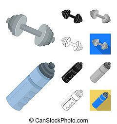 icônes, toile, stockage, symbole, dessin animé, noir, bitmap, monochrome, contour, ensemble, collection, équipement salle gymnastique, plat, illustration., formation, design.