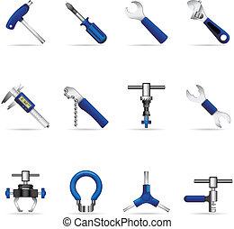 icônes, toile, -, vélo, outils