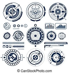 icônes, toucher, noir, ensemble, blanc, hud