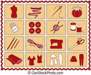 icônes, tricotter, tailleur, couture, crochet
