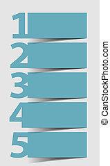 icônes, -, trois, deux, quatre, vecteur, 5, progrès, cinq, étapes, une