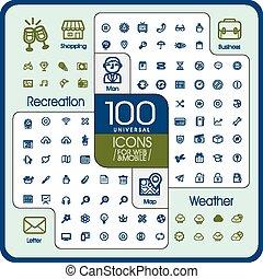 icônes, universel, ensemble, agréable, 100