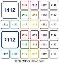icônes, urgence, plat, esquissé, appeler, couleur, 112