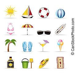 icônes, vacances, été, réaliste