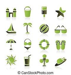 icônes, vacances, plage, mer