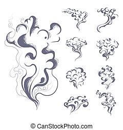 icônes, vapeur, brûlé, fumée, isolé, ou, vapeur, cigarettes,...