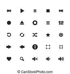 icônes, vecteur, ensemble, audio