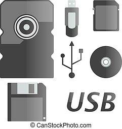 icônes, vecteur, ensemble, illustration.