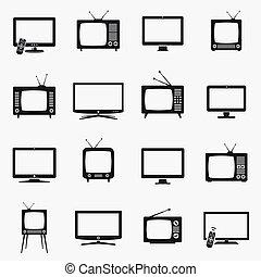 icônes, vecteur, ensemble, tv