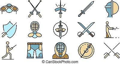 icônes, vecteur, escrime, ensemble, plat
