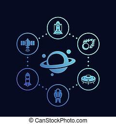 icônes, vecteur, espace