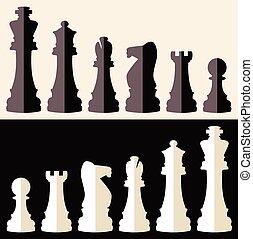 icônes, vecteur, morceaux échecs