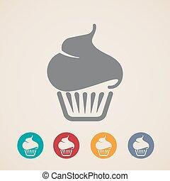 icônes, vecteur, petit gâteau