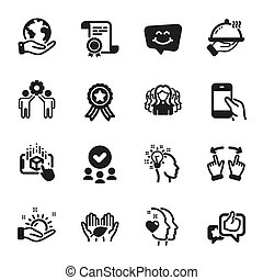 icônes, vecteur, tel, femmes, gens, group., augmented, réalité, ensemble, idée