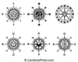 icônes, vendange, nautique, compas, marin, ou