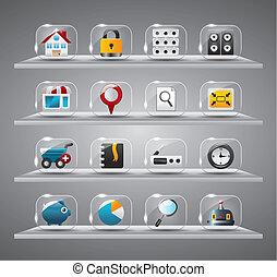 icônes, verre, internet, site web, bouton