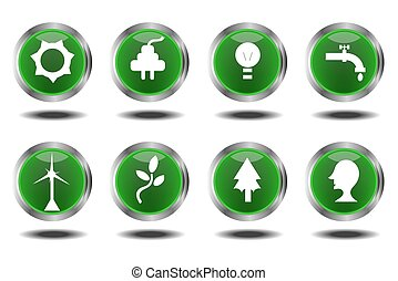 icônes, vert, ensemble