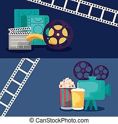 icônes, vidéo, ensemble, appareil photo, cinéma