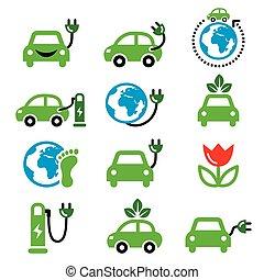 icônes, voiture, électrique, vert