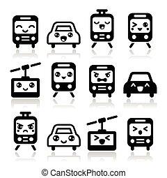 icônes, voiture, autobus, mignon, -, train, kawaii
