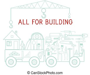 icônes, voiture, instruments, bâtiment, fond, réparation