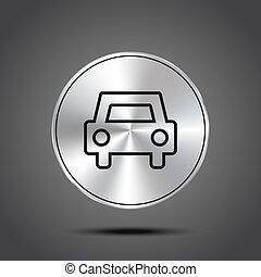 icônes, voiture, isolé, métallique, sombre, vecteur, fond