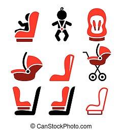 icônes, voiture, sûr, icônes, siège, -, vecteur, voyager, enfant, bébé, toddle