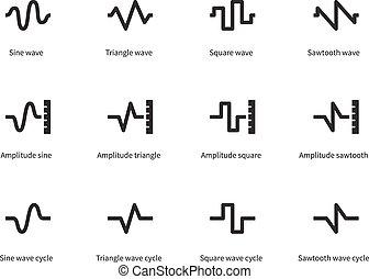 icônes, voix, vagues, arrière-plan., blanc