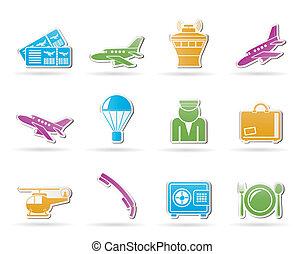 icônes, voyage, aéroport