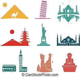 icônes, voyage, célèbre, monuments